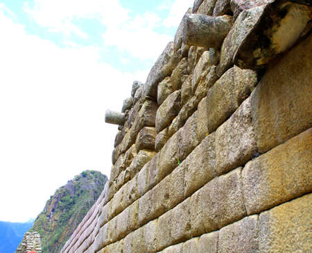 wonder: Machu Pichu ancient ruins. Detail. Peru. wonder of the world