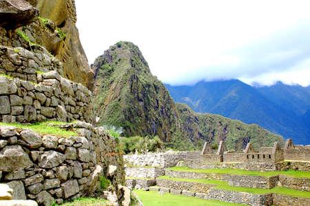 incan: Ancient Incan city of Machu Picchu, Peru. Unesco site Stock Photo