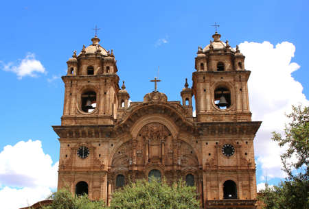 iglesia de la compania: Historic Iglesia de la Compania in the Plaza de Armas of Cusco in Peru. Sits on top of an old Inca Palace.