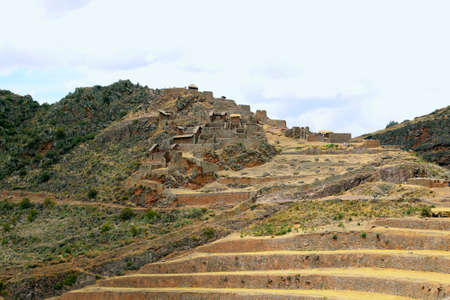 pisac: Ancient agricultural terraces of the Pisac Sacred Valley in Peru, South America.