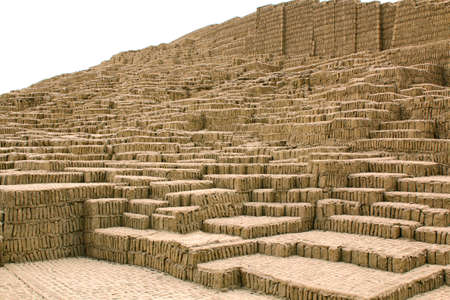 lima: Steps of the pyramid at Huaca Pucllana. Lima, Peru
