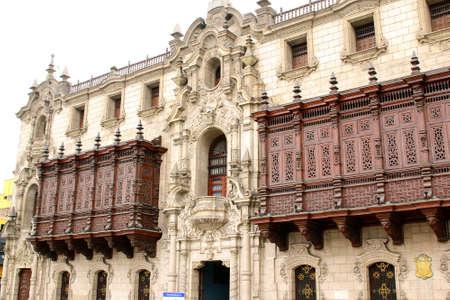 richly: richly carved balconies, Plaza Mayor, Lima, Peru