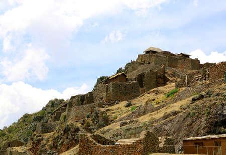 pisaq: Ancient agricultural terraces of the Pisac Sacred Valley in Peru, South America.