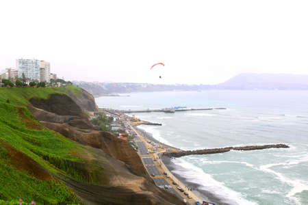parapente: Aerial shot of Lima city, Peru. Miraflores. sea and mountain