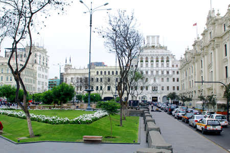 lima: LIMA, PERU - MAY 10, 2015: Plaza San Martin in Lima, Peru