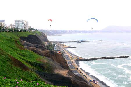 parapente: Aerial shot of Lima city, Peru. Miraflores. Parapente