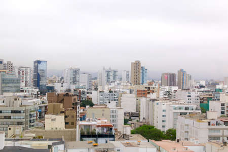 lima: View of the skyline in miraflores. lima peru