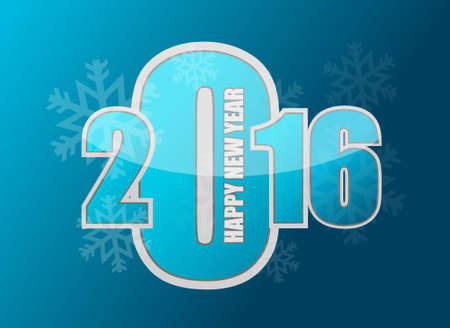 new years resolution: happy new year snowflake 2016 sign illustration design graphic Illustration