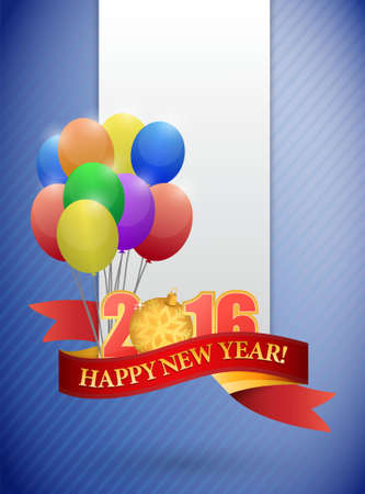 2016 happy new year ribbon and balloon card illustration design Illustration