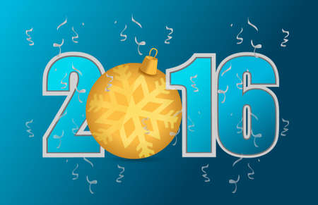 2016 blue text and gold ornament illustration design graphic