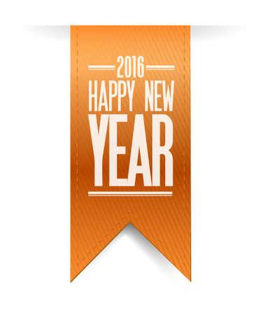 sign orange: happy new year orange 2016 sign illustration design graphic