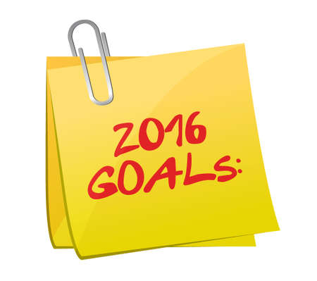 two thousand and fourteen: 2016 goals post memo illustration design graphic Illustration