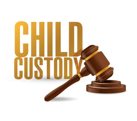 bootees: child custody law hammer illustration design over a white background