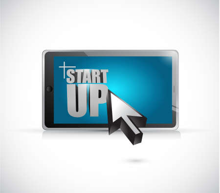 start up tablet illustration design graphic over white Illustration
