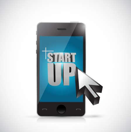 electronic tablet: start up phone illustration design graphic over white Illustration