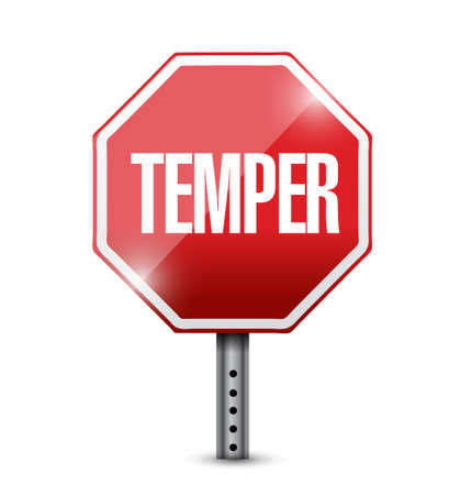 outburst: stop temper red sign illustration design graphic over white Illustration