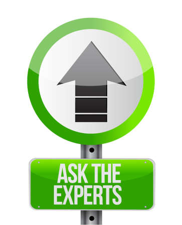 customer support: ask the experts ahead road sign illustration design graphic over white Illustration