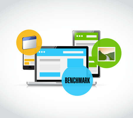 benchmark web responsive platforms illustration design graphic over white Illusztráció