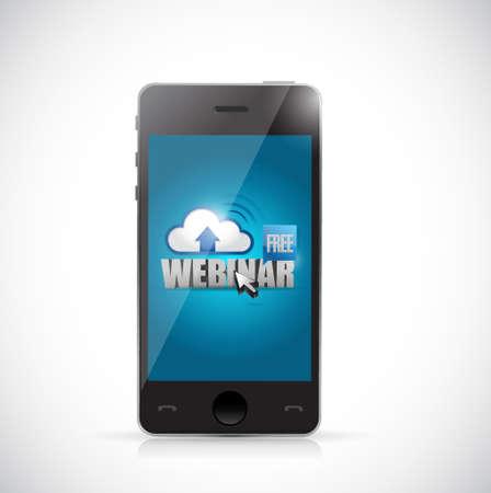 live webinar on a smart phone. illustration design graphic over white Illustration