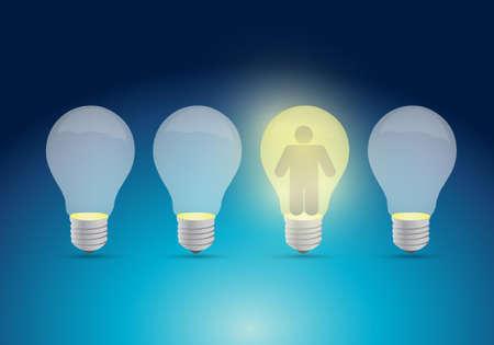 successors: row of a light bulb and avatar illustration design graphic Illustration