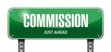 commission: commission road sign illustration design graphic over white Illustration