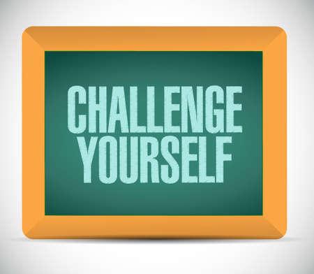 yourself: challenge yourself chalkboard illustration design graphic over white Illustration