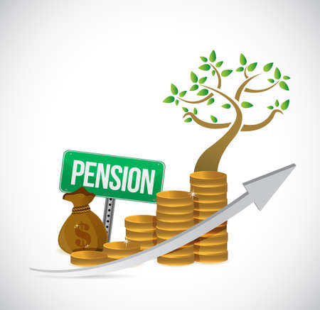 share prices: pension sign coin tree graph illustration design over a white background