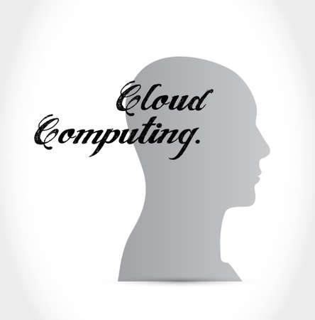 thinking link: cloud computing head sign illustration design graphic