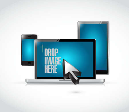 replying: drop image here message on a electronics illustration design over a white background