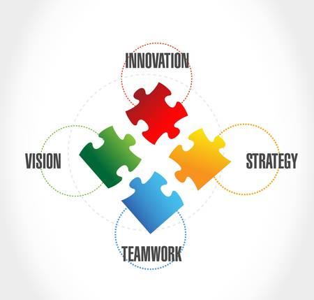 teamwork puzzle pieces illustration design over a white background Ilustrace