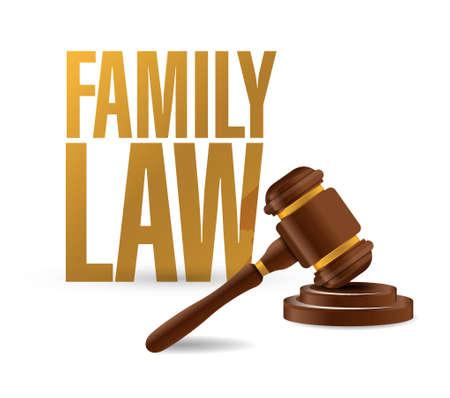 ley: concepto de derecho de familia y el diseño ilustración martillo sobre un fondo blanco