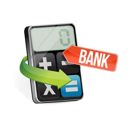 equals: calculator bank sign illustration design graphic over white Illustration