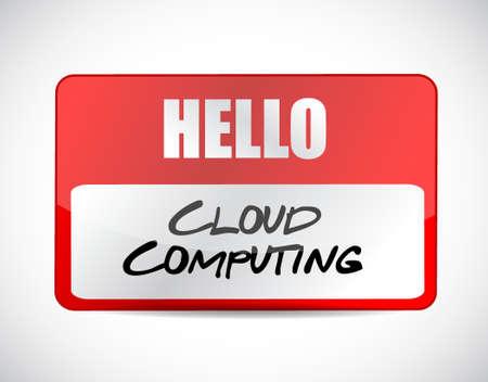 cloud computing name tag sign illustration design graphic