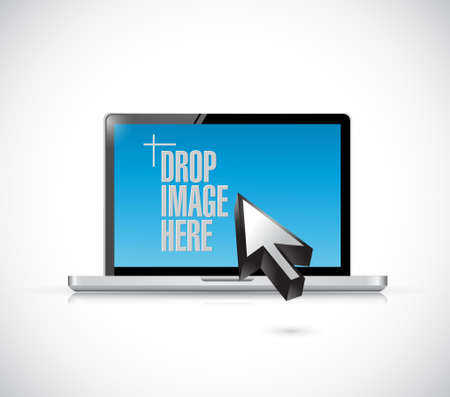 replying: drop image here message on a computer illustration design over a white background