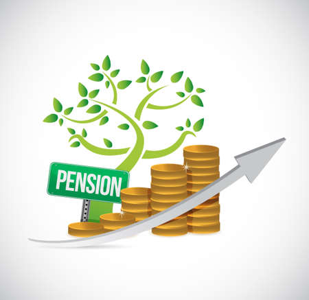 accountancy: pensions tree profits graph illustration design over a white background Illustration