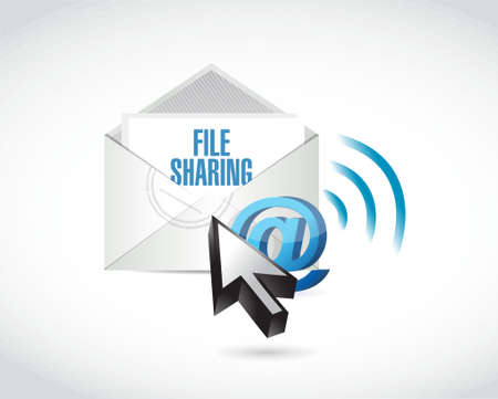 file sharing: file sharing email illustration design over a white background
