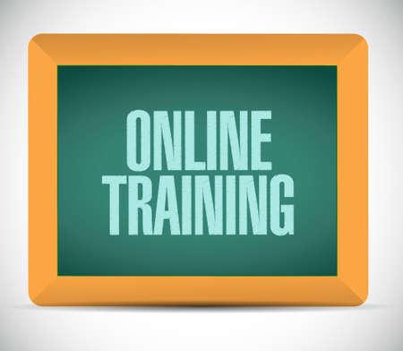 indoctrinate: Online Training board sign concept illustration design graphic