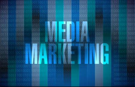 Media Marketing binary sign concept illustration design graphic
