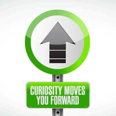 tormenta de ideas: La curiosidad que mueve señal de tráfico ilustración del concepto de diseño hacia adelante