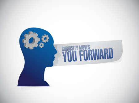 curiosity: Curiosity moves you forward thinking brain sign concept illustration design