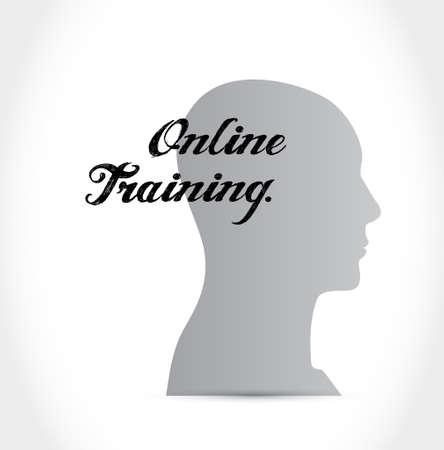 world class: Online Training brain sign concept illustration design graphic