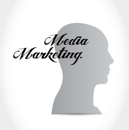 communications: Media Marketing brain sign concept illustration design graphic