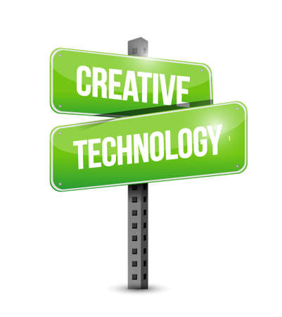 creative technology street road sign concept illustration design graphic