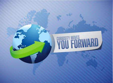 moves: Curiosity moves you forward global sign concept illustration design