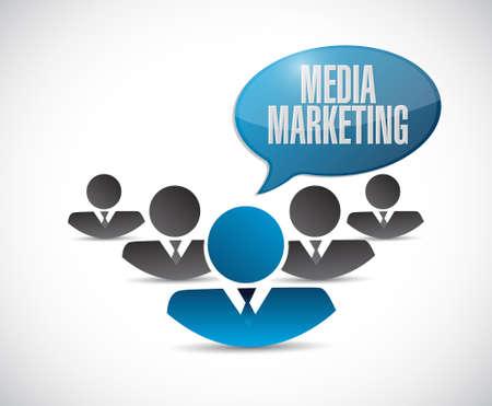 communications technology: Media Marketing teamwork sign concept illustration design graphic