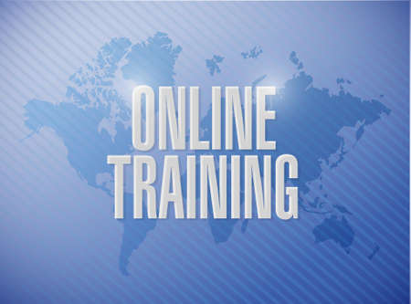 indoctrinate: Online Training world map sign concept illustration design graphic Illustration