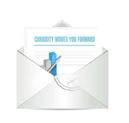 curiosity: Curiosity moves you forward envelope sign concept illustration design Illustration