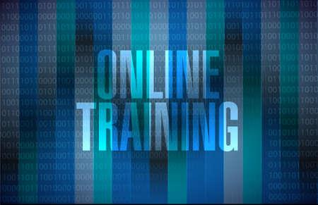 indoctrinate: Online Training binary sign concept illustration design graphic Illustration
