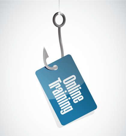 indoctrinate: Online Training hook sign concept illustration design graphic