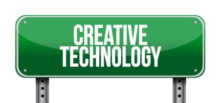 creative technology road sign concept illustration design graphic 일러스트